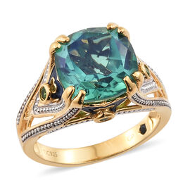 GP Peacock Quartz (Cush 7.33 Ct), Russian Diopside and Kanchanaburi Blue Sapphire Enameled Ring in 14K Gold Overlay Sterling Silver 7.500 Ct. Silver wt. 5.53 Gms.