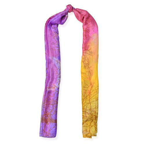 Pink, Yellow and Purple Colour Printed Scarf (Size 190x135 Cm)