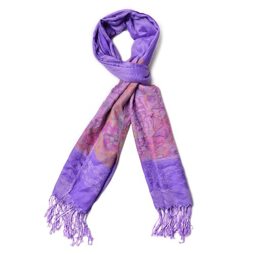 Multi Colour Paisley Pattern Purple Colour Scarf with Fringes at the Bottom (Size 180x68 Cm)