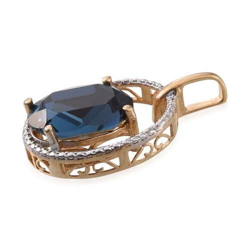 J Francis Crystal from Swarovski - Montana Crystal (Ovl) Solitaire Pendant in 14K Gold Overlay Sterling Silver