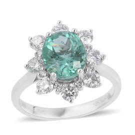 ILIANA 18K White Gold Boyaca Colombian Emerald (Ovl), Diamond Flower Ring 3.750 Ct.