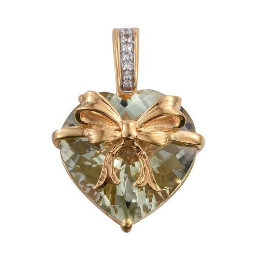 GP Green Amethyst (Hrt 14.00 Ct), White Topaz and Kanchanaburi Blue Sapphire Pendant in 14K Gold Overlay Sterling Silver 14.250 Ct.