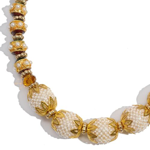 Jewels of India Glass Pearl and Glass Necklace (Size 22 with Extender) and Hook Earrings