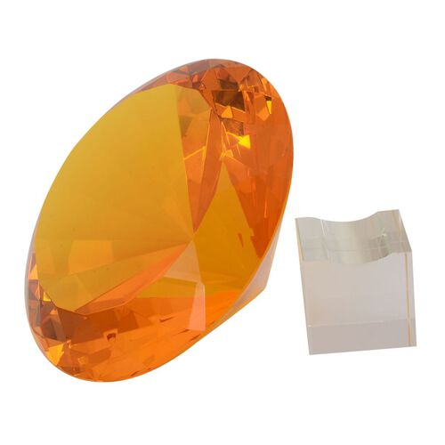 TJC Exclusive Diamond Cut Yellow Glass Crystal with Stand (20cms) in a Gift Box