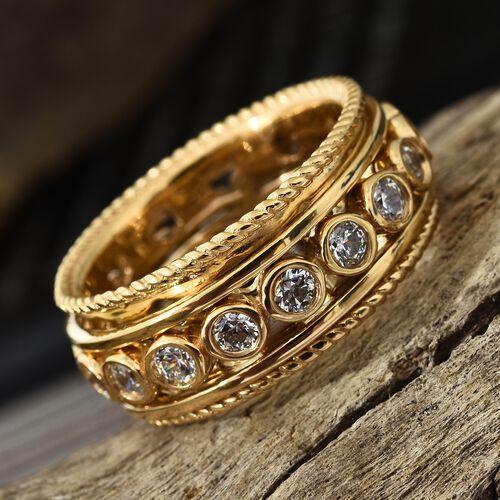 J Francis - 14K Gold Overlay Sterling Silver (Rnd) Spiner Ring Made with SWAROVSKI ZIRCONIA, Silver wt 8.77 Gms.