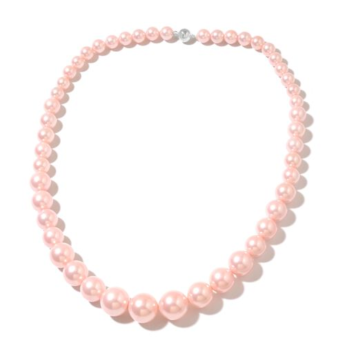 Pink Shell Pearl (Rnd) Beads Necklace (Size 20) with Magnetic Clasp, Stretchable Bracelet (Size 7) and Ball Stud Earrings (with Push Back) in Rhodium Plated Sterling Silver