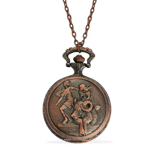STRADA Japanese Movement Roman Number Dial ZODIAC Aries Pocket Watch with Chain (Size 32) in Rose Tone