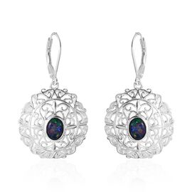 Designer Inspired-Australian Boulder Opal (Ovl) Lever Back Earrings in Sterling Silver .Silver Wt 6.20 Gms