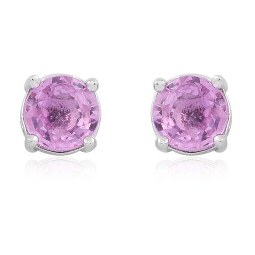ILIANA 18K White Gold AAA Pink Sapphire (Rnd) Stud Earrings (with Screw Back) 1.000 Ct.
