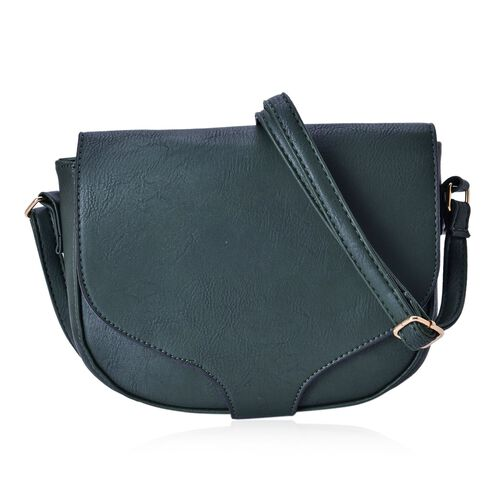Dark Green Colour Crossbody Saddle Bag with Adjustable Shoulder Strap (Size 20x17x6 Cm)