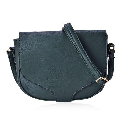 Dark Green Colour Crossbody Saddle Bag with Adjustable Shoulder Strap (Size 20x17x6 Cm)