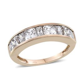 9K Y Gold (Sqr) Half Eternity Band Ring Made with SWAROVSKI ZIRCONIA