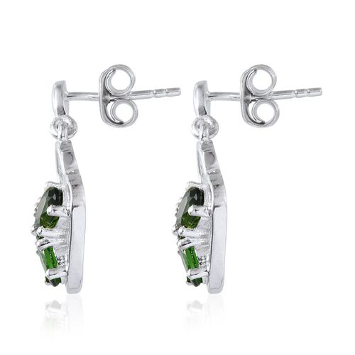 Russian Diopside (Ovl) Earrings (with Push Back) in Platinum Overlay Sterling Silver 1.545 Ct.