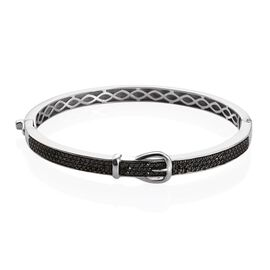 Black Diamond (Rnd) Buckle Bangle (Size 7.5) in Platinum Overlay Sterling Silver 1.000 Ct.