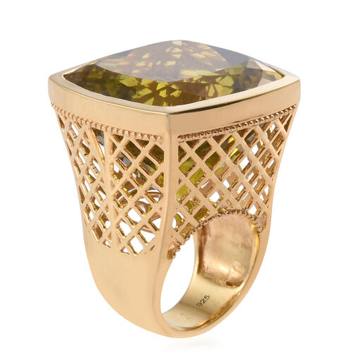 Natural Green Gold Quartz (Cush) Ring in 14K Gold Overlay Sterling Silver 90.000 Ct.