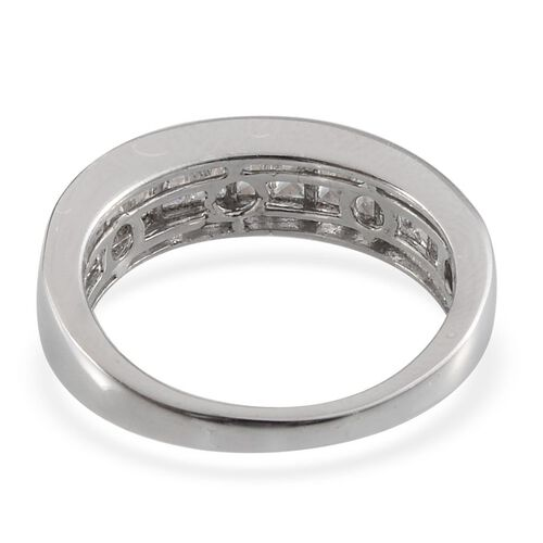 J Francis - Platinum Overlay Sterling Silver (Bgt) Half Eternity Band Ring Made With SWAROVSKI ZIRCONIA