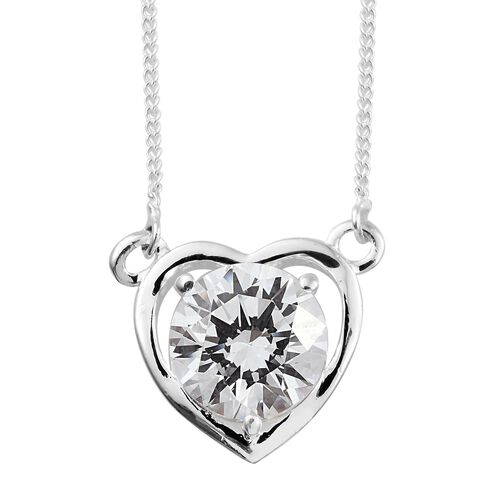 J Francis - Sterling Silver (Rnd) Heart Necklace (Size 18) Made with SWAROVSKI ZIRCONIA