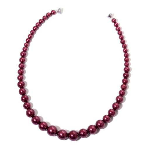 Graduated Burgundy Colour Shell Pearl Necklace (Size 20) with Rhodium Plated Sterling Silver Magnetic Lock and Stretchable Bracelet (Size 7.5)