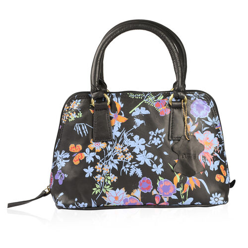 Genuine Leather RFID Blocker Black, Blue and Multi Colour Floral Pattern Handbag (Size 32X19X10 Cm)