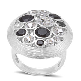 Boi Ploi Black Spinel (Rnd 1.15 Ct), White Topaz Ring in Rhodium Plated Sterling Silver 7.020 Ct.