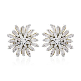 9K Y Gold SGL Certified Diamond (Rnd) (I3/G-H) Starburst Stud Earrings (with Push Back) 0.500 Ct.