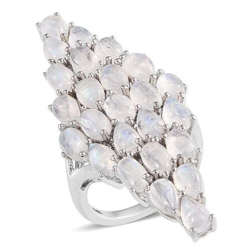 Natural Rainbow Moonstone (Ovl) Cluster Ring in Platinum Overlay Sterling Silver 12.250 Ct.