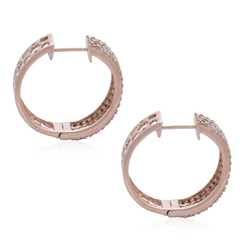 ILIANA 18K Rose Gold Natural Pink Diamond (Rnd) Hoop Earrings (with Clasp) 1.000 Ct. Number of Diamonds 160