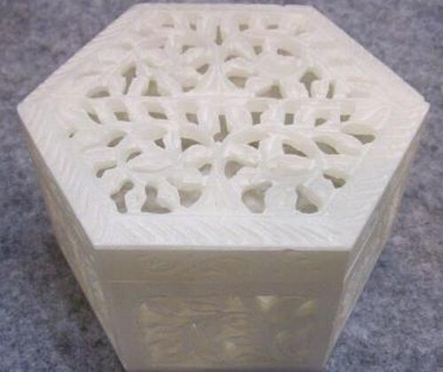 Hand Made Jali Cutout Work Hexagonal White Soapstone Box (Size 4x4x2 inch)