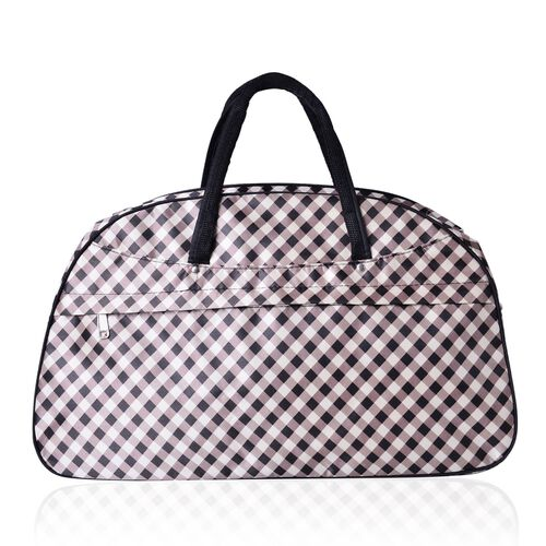 Gingham Weekend Bag with External Zipper Pocket and Adjustable Shoulder Strap (Size 50x31x17 Cm)