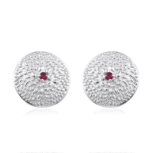 African Ruby (Rnd) Stud Earrings (with Push Back) in Platinum Overlay Sterling Silver 0.400 Ct.