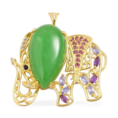 Green Jade (Pear 19.00 Ct), Rhodolite Garnet, Amethyst, Tanzanite and Multi Gemstone Elephant Pendant in Yellow Gold Overlay Sterling Silver 20.050 Ct. Silver wt 7.44 Gms.