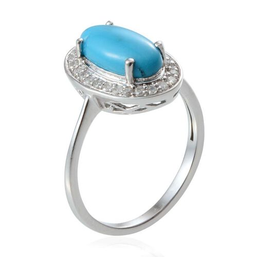 14K W Gold Arizona Sleeping Beauty Turquoise (Ovl 2.00 Ct), Diamond Ring 2.250 Ct.