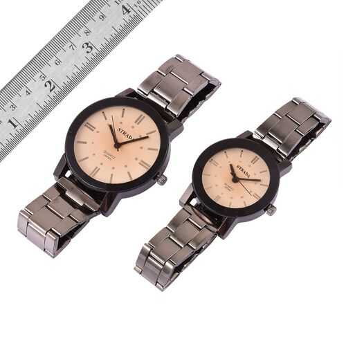 Set of 2 - STRADA Japanese Movement Champagne Austrian Crystal Studded Beige Dial Watch in Black Tone with Stainless Steel Back