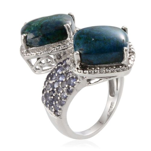 Table Mountain Shadowkite (Cush), Iolite and Diamond Crossover Ring in Platinum Overlay Sterling Silver 9.250 Ct. Silver wt 7.74 Gms.