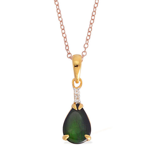 Canadian Ammolite (Pear 1.32 Ct), White Topaz Pendant With Chain in Yellow Gold Overlay Sterling Silver 1.355 Ct.