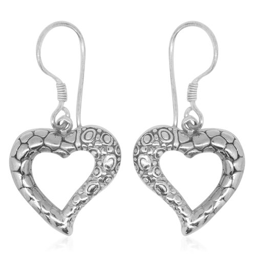 Royal Bali Collection Sterling Silver Heart Hook Earrings, Silver wt. 4.52 Gms.