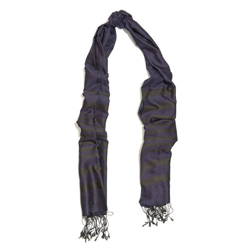 100% Silk Stripe Pattern Royal Blue Colour Scarf with Fringes (Size 200x70 Cm)