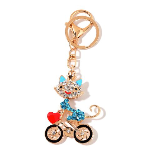 Set of 3 - Simulated Grey Moonstone, White and Multi Colour Austrian Crystal Princess, Cycling Cat and Stroller Design Key Chains in Yellow Gold Tone