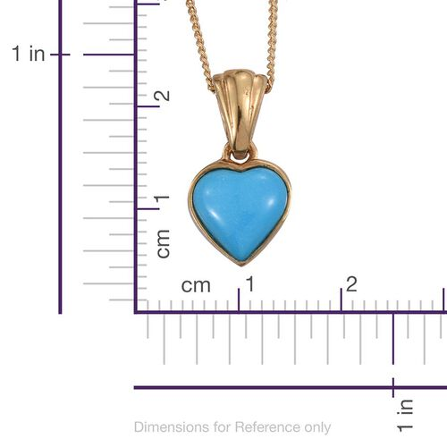 Arizona Sleeping Beauty Turquoise (Hrt) Pendant With Chain in 14K Gold Overlay Sterling Silver 1.000 Ct.