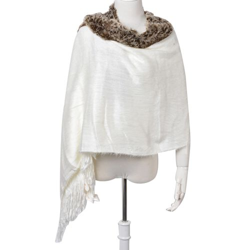 Leopard Pattern White and Chocolate Colour Shawl with Fringes (Size 160x55 Cm)