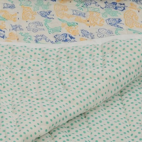 100% Cotton Hand Block Printed Green, Blue and Yellow Colour Animals and Polka Dot Pattern White Colour Quillow (Size 220x140 Cm)