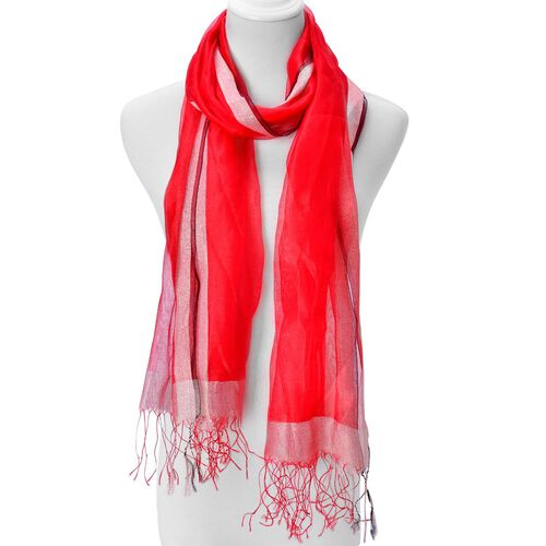 Red Colour Scarf with Golden Thread and Fringes at the Bottom 50 percent SILK 50 percent polyester (Size 175x65 Cm)