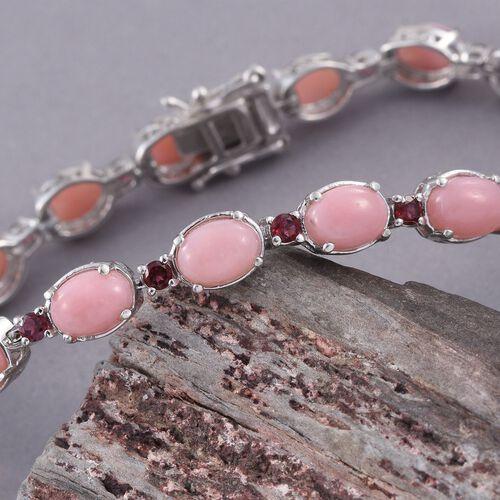 Natural Peruvian Pink Opal (Ovl), Rhodolite Garnet Bracelet (Size 7.5) in Platinum Overlay Sterling Silver 13.250 Ct.