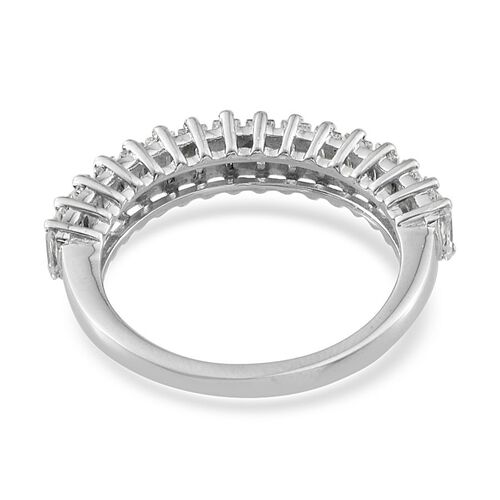 J Francis - Platinum Overlay Sterling Silver (Bgt) Half Eternity Ring Made with SWAROVSKI ZIRCONIA 1.760 Ct.