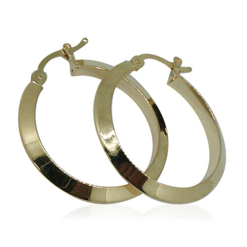 Surabaya Gold Collection 9K Yellow Gold Elongated Hoop Earrings (with Clasp)
