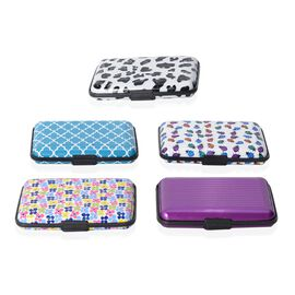 Set of 5 - Purple and Multi Colour Pattern RFID Blocking Water Resistant Card Holders (Size 11x7x2 Cm)
