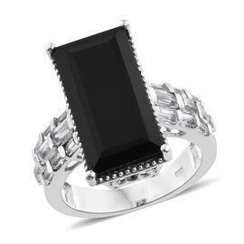Black Tourmaline (Bgt 12.30 Ct), White Topaz Ring in Platinum Overlay Sterling Silver 13.750 Ct.