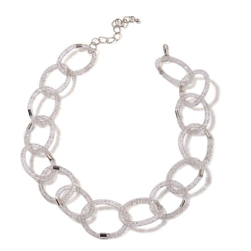White Austrian Crystal Oval Link Necklace (Size 20 with 3 inch Extender) in Silver Tone