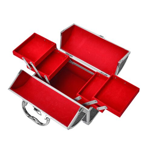 Black Colour Three Layer Multi Functional Jewellery, Sewing, Watch, Makeup, Jewellery Box with 4 Extendable Trays and Red Velvet Lining Inside (Size 24X17X15 Cm)