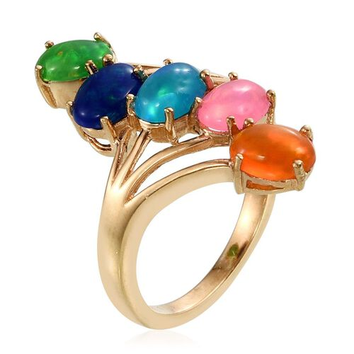 AA Pariaba Ethiopian Opal (Ovl), Blue, Green, Orange and Pink Ethiopian Opal Crossover Ring in 14K Gold Overlay Sterling Silver 2.500 Ct.
